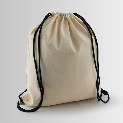 Cotton backpack with drawstring closure and black cords