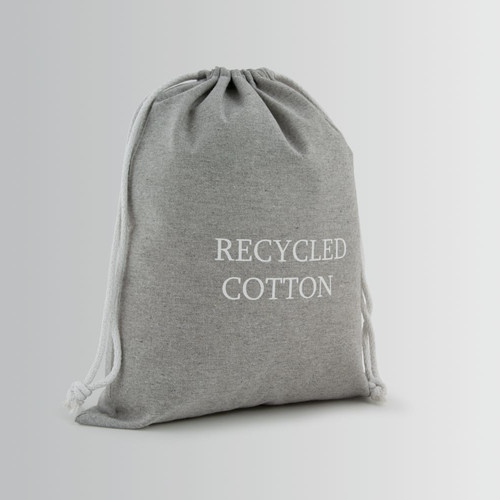 Recycled cotton bag with white natural cotton double rope drawstring closure