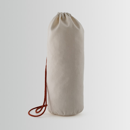 Bucket-shaped cotton bottle holder bag with drawstring closure and red cord