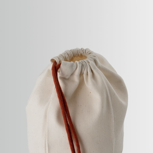 Cotton bag with drawstring closure