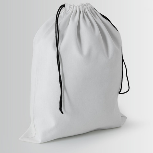 Cotton bag with black double rope drawstring closure without knot