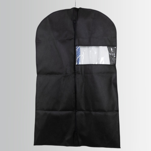 Black polypropylene clothes cover with zip and transparent plastic band