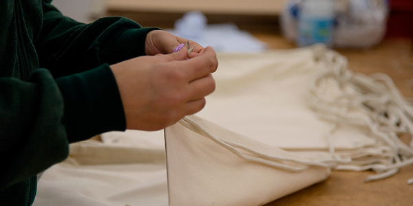 Fabrics are cut and made to create the desired product